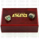 2PCS Sets 1974 1989 OAKLAND ATHLETICS MLB Championship Ring 10-13 Size with Logo wooden box