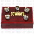 5PCS Set 1971 1977 1992 1993 1995 Dallas Cowboys Football Championship Ring 10-13S+ Logo wooden box