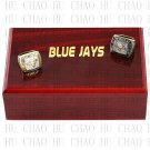 2PCS Set 1992 1993 TORONTO BLUE JAYS MLB Championship Ring 10-13 Size with Logo wooden box