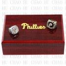 2PCS Sets 1980 2008 PHILADELPHIA PHILLIES MLB Championship Ring 10-13 Size with Logo wooden box