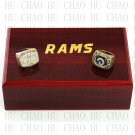 2pcs Set 1979 1999 St Louis Rams Football championship Rings 10-13S+ Logo wooden box
