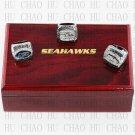 3pcs Set 2005 2013 2014 Seattle Seahakws Football championship Rings 10-13S+ Logo wooden box