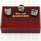 3pcs Set 2010 2013 2015 Chicago Blackhawks Hockey championship Rings 10-13S+ Logo wooden box