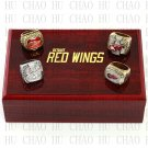 Set 4 PCS 1997 1998 2002 2008 Detroit Red Wings Hockey championship Rings 10-13S+ Logo wooden box