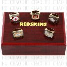 5PCS Sets 1972 1982 1983 1987 1991 Washington Redskins Football Rings 10-13S+ Logo wooden box