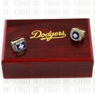 2PCS Sets 1981 1988 LOS ANGELES DODGERS MLB Championship Ring 10-13 Size with Logo wooden box