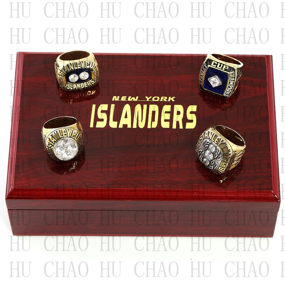 Set 4 PCS 1980 1981 1982 1983 New York Islanders NHL Hockey Ring 10-13S +Logo wooden box