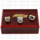 Set 3 pcs 1991 1992 2009 Pittsburgh Penguins NHL Hockey Championship Ring 10-13S+Logo wooden box