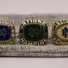 SET 3 PCS 1973 1977 1988 Notre Dame Fighting Irish NCAA National championship rings 8-14S