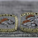 One Set 2 PCS 1997 1998 Denver Broncos super bowl championship Ring 7-15S copper ring