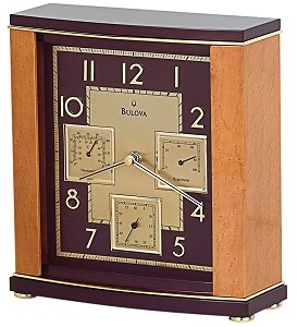 Bulova Montour Table Clock with Temperature Readings B7594