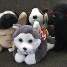 "Lot of 4 TY Plush Dogs ""BRUNO"", ""GIGI"", ""NANOOK"", & ""PUGSLY"""