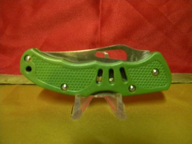 Bullfrog Tactical II, single blade tactical knife w/green composition handles.