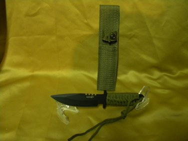 "SURVIVOR, 7 1/2"" fixed blade tactical knife w/cord wrapped handle & sheath."