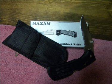 "MAXAM,Folding Hunter Knife W/sheath, 4 3/4"" closed length."
