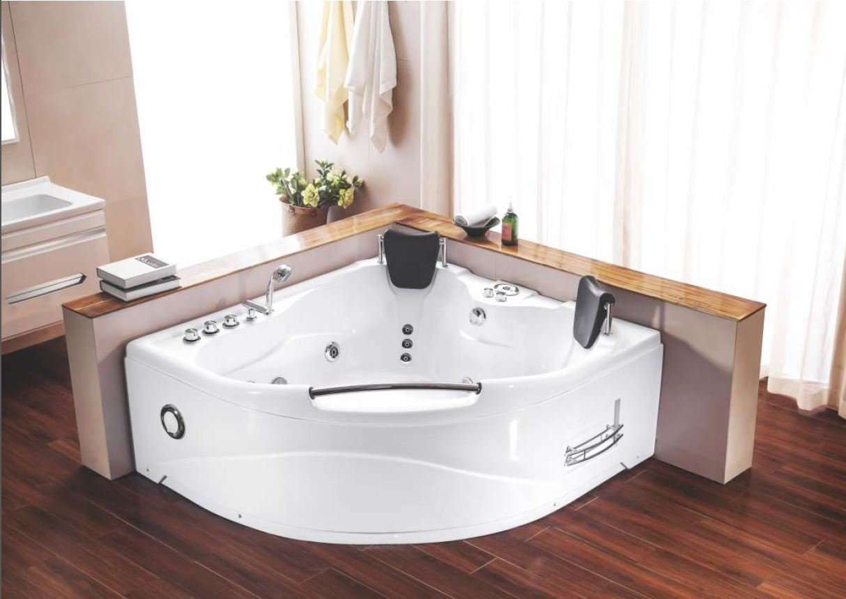 Indoor hot tub 2 person  2 Person Indoor Hot Tub Jetted Bathtub Sauna Hydrotherapy Massage ...