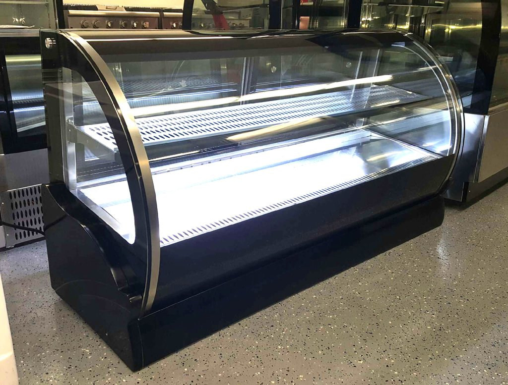 "New 59"" Curved Glass Stainless Steel Deli Cake Display Refrigerator Countertop"