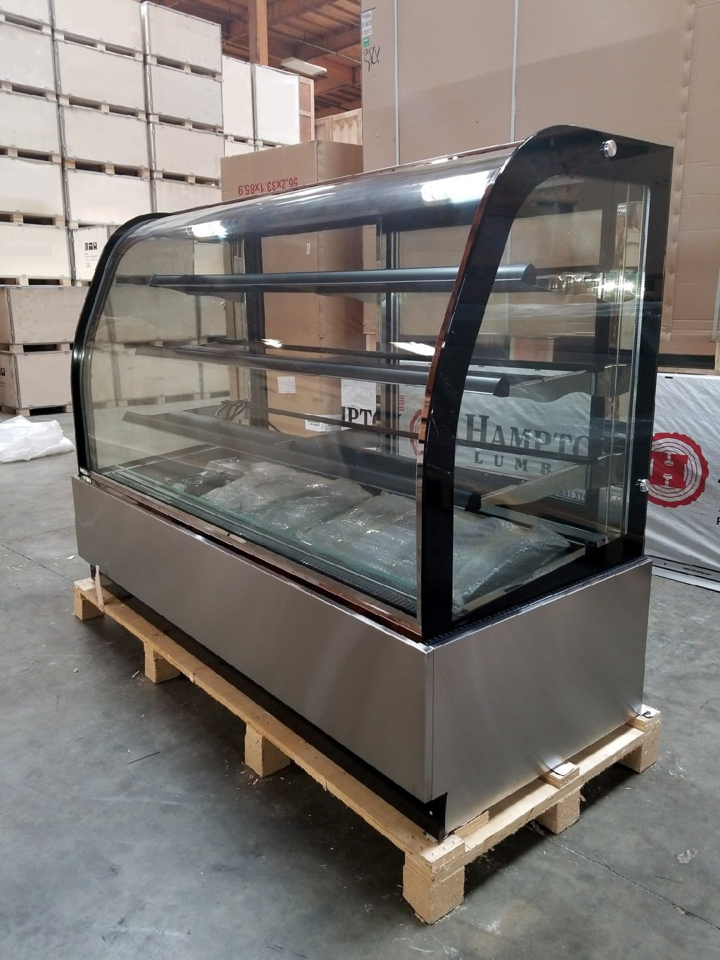 """New 71"""" Curved Glass Stainless Steel Deli Cake Display Refrigerator Full Size"""