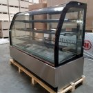 "New 71"" Curved Glass Stainless Steel Deli Cake Display Refrigerator Full Size"
