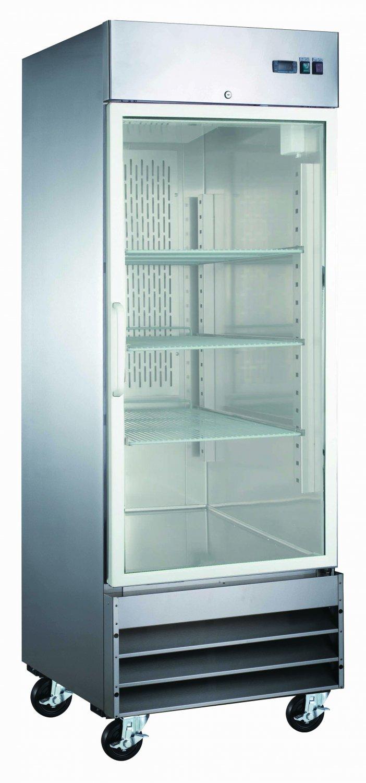 """29"""" Glass Door Freezer 1 Single Door CFD-1FF-G Stainless Trim LED Lighting"""