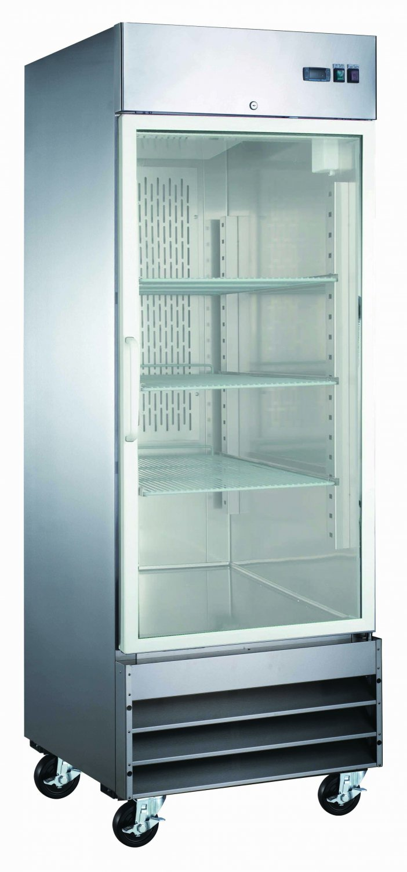 """29"""" Glass Door Refrigerator 1 Single Door CFD-1RR-G Stainless Trim LED Lighting"""