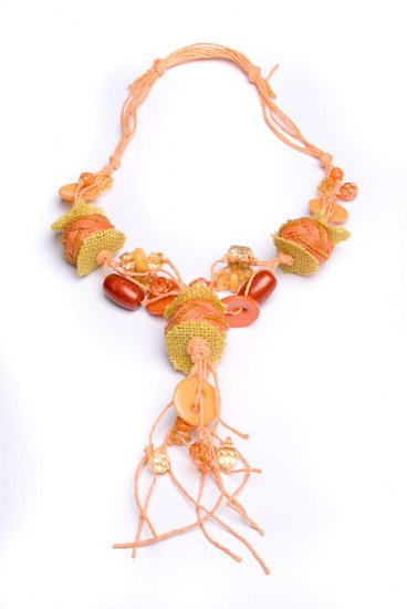 Burlap & Salmon Beaded Necklace