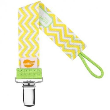 Yellow Chevron Personalized Pacifier Clip - Yellow, Unisex