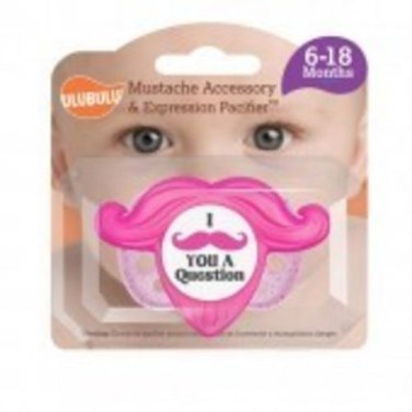 Mustache Accessory and Pacifier Set - Pink 6-18M
