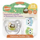 Owl Pacifier and Universal Clip Combo 0-6M
