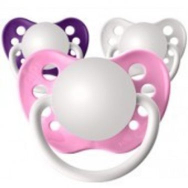 Set of 3 Personalized Pacifiers by Ulubulu, Pink White and Purple, Classic Girls