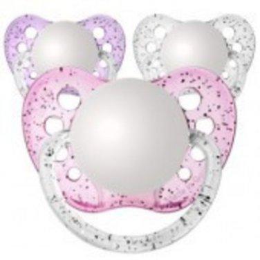 Set of 3 Personalized Pacifiers by Ulubulu, Glitter Pink Purple and Clear, Girls