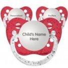 Set of 3 Personalized Pacifiers by Ulubulu, Glitter Red, Unisex