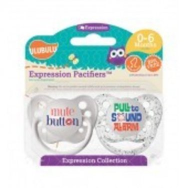 Mute Button & Pull to Sound Alarm Pacifiers-0-6M, Unisex, Expressions Collection
