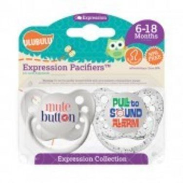 Mute Button & Pull to Sound Alarm Pacifiers 6-18M, Unisex, Expression Collection