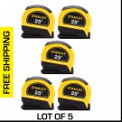 LOT of 5 New STANLEY 25' Leverlock Tape Measure - Measuring Tape Rule - STHT30825