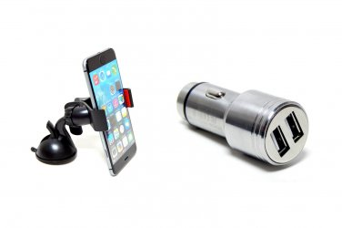 Metal Head Dual USB Car Charger + Mobile Phone Car Holder + MFI Lightning Cable Bundle