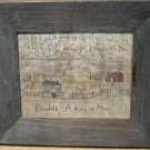Antique New England school sampler needle work dated 1720