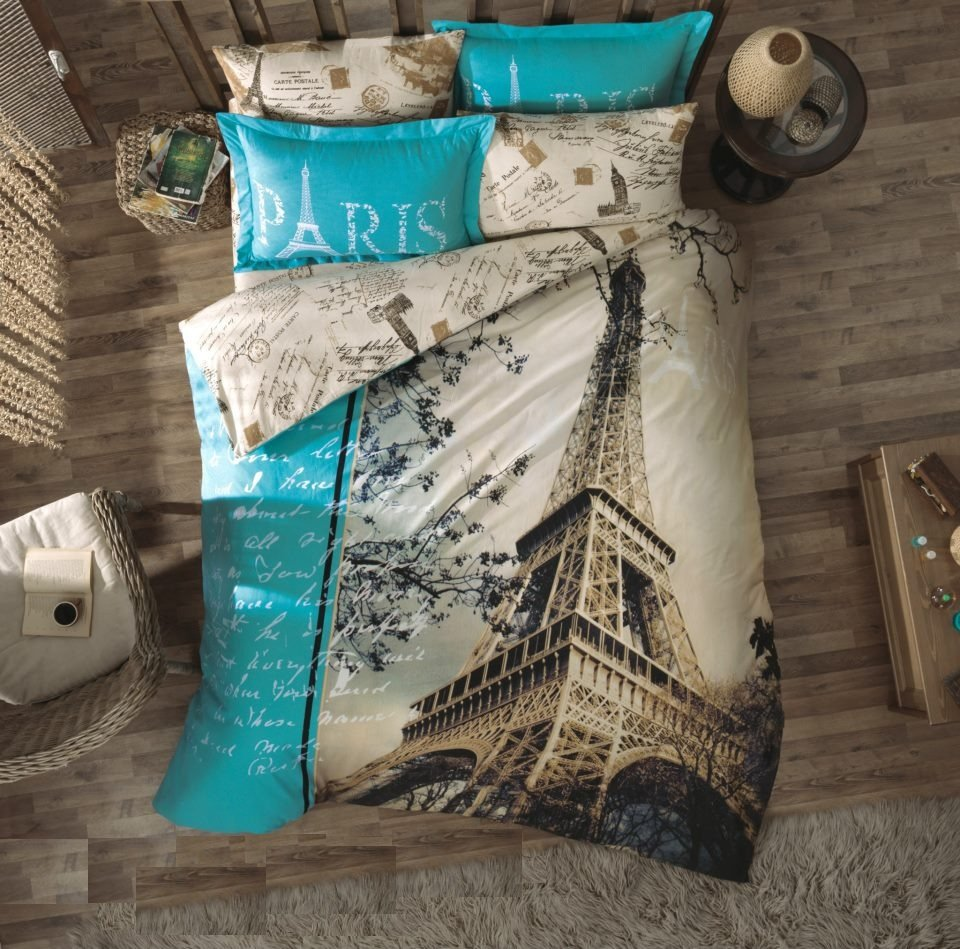100% Cotton Double Bedding Duvet Cover Set Paris Ä°n Love
