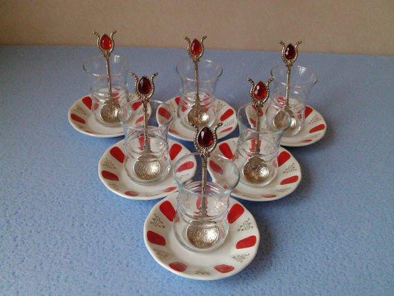 (SET OF 6)Turkish Traditional Tea Serving Set Glasses,Saucers,Spoons