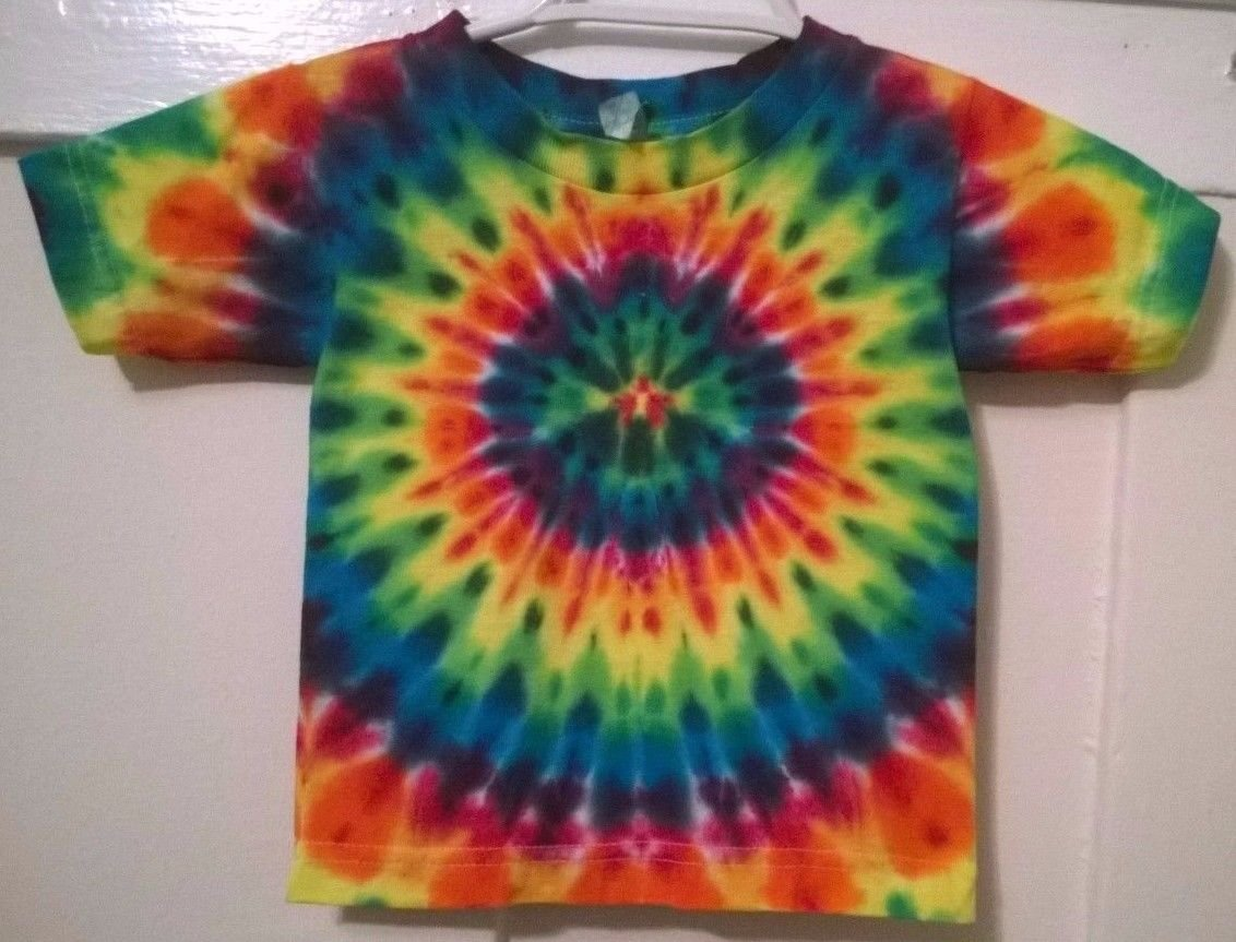 New tie dye alstyle 3t toddler tshirt rainbow pleated for How to dye a shirt red