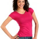 JRS SMALL XiXi Scoop Neck Cap Sleeve Tee RASPBERRY