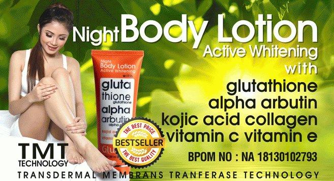 Glutera Night Body Lotion Glutathione and Alpha Arbutin Active Whitening
