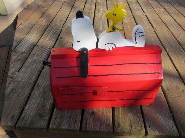 Handmade custom designed cartoon dog and bird functional mailbox