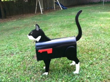 Handmade custom painted, functional, Tuxedo cat mailbox