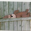 Handmade Custom Wooden Functional  Lazy Dog on back Rail Pet or Fence Sitter