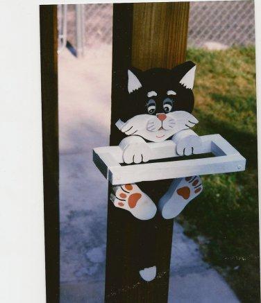 Handmade Custom Wooden Cat Bird Feeder