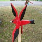 Handmade Handpainted Wooden Scarlet Tanager Whirligig