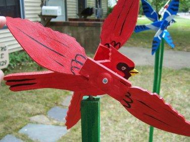 Handmade Handpainted Wooden Red Cardinal Whirligig