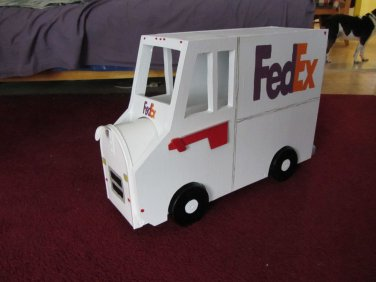Handmade custom painted, functional,FedEx truck mailbox