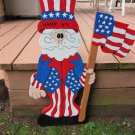 Handmade wooden custom painted Uncle Sam with a flag for your patriotic holidays